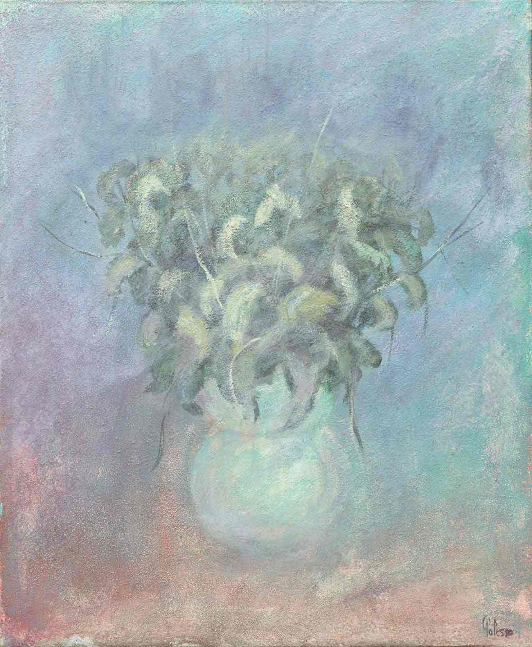 quadro vaso di fiori, olio su tela, opera d'arte del maestro polesso fulvio pittore chiarista milano italia