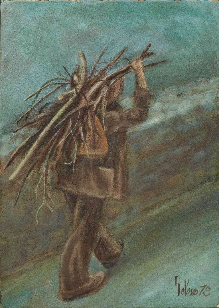 quadro contadino umbro, olio su tela, opera d'arte del maestro polesso fulvio pittore chiarista milano italia