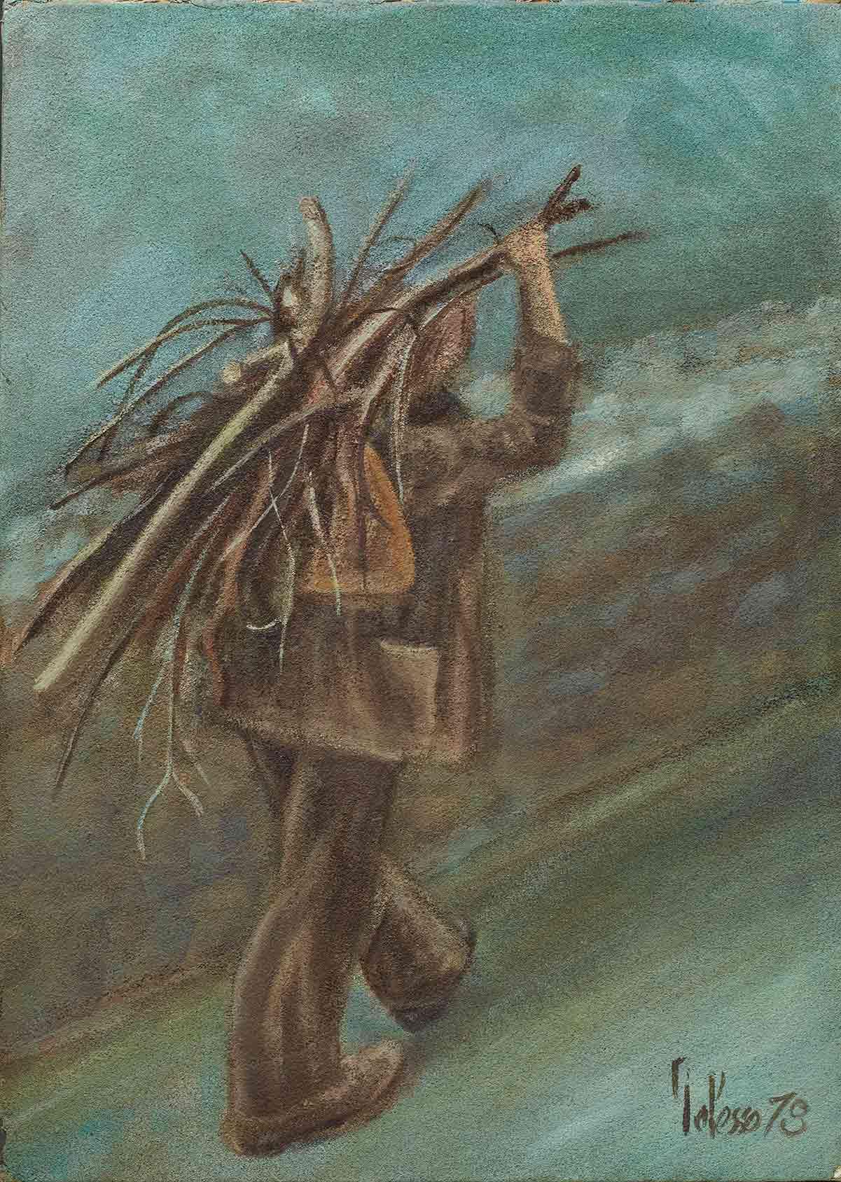 contadino umbro quadro maestro polesso fulvio, pittore chiarista milano