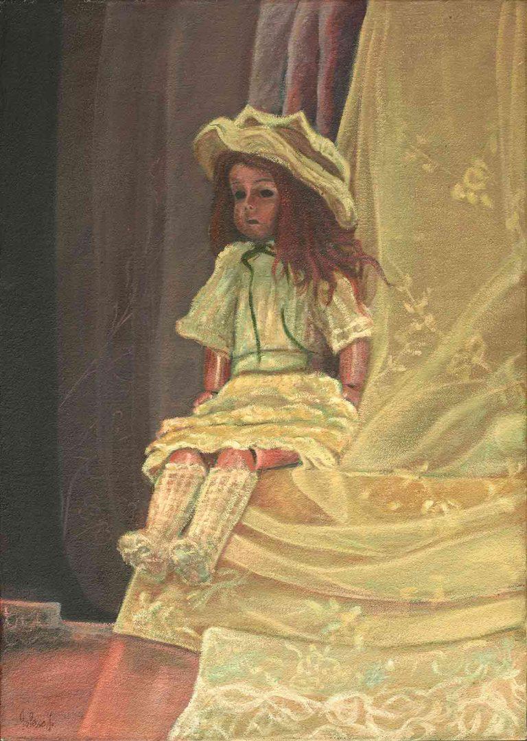 quadro la bambola, opera d'arte del maestro polesso fulvio pittore chiarista milano italia
