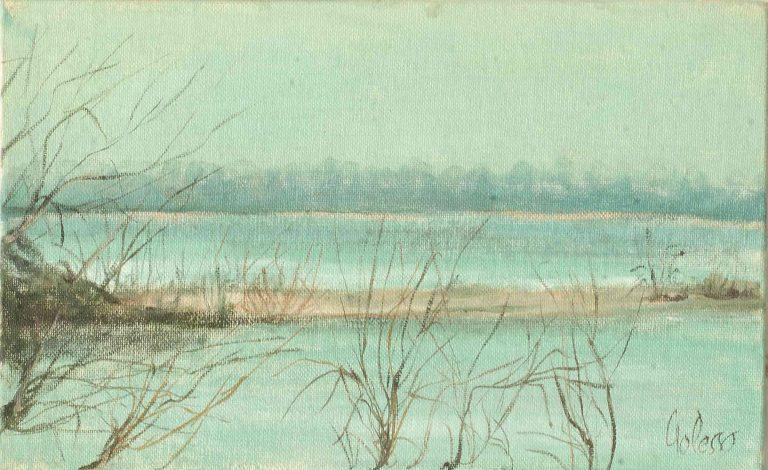 quadro paesaggio ticino, opera d'arte del maestro polesso fulvio pittore chiarista milano italia