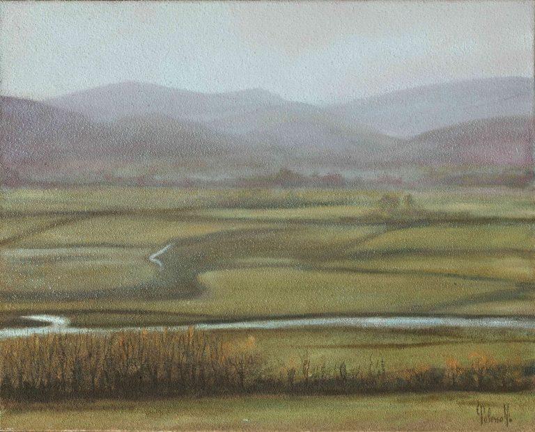 quadro paesaggio scozia, olio su tela, opera d'arte del maestro polesso fulvio pittore chiarista milano italia