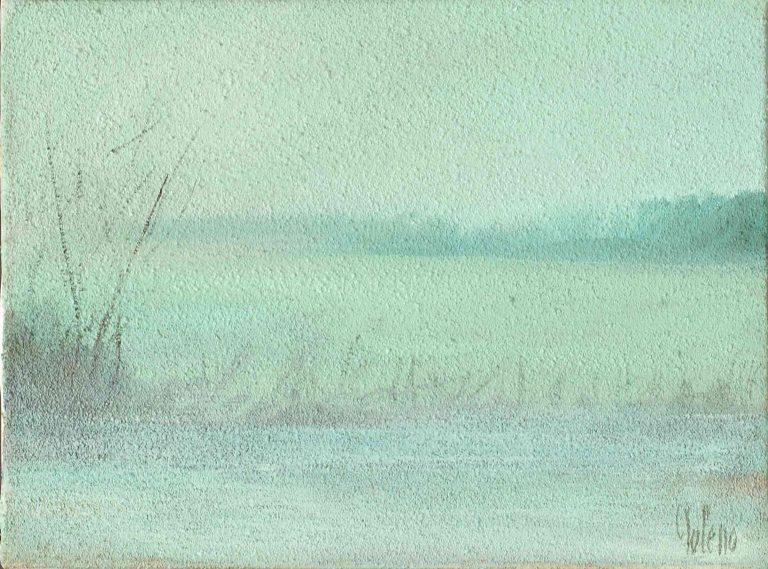 quadro paesaggio campagna, olio su tela, opera d'arte del maestro polesso fulvio pittore chiarista milano italia