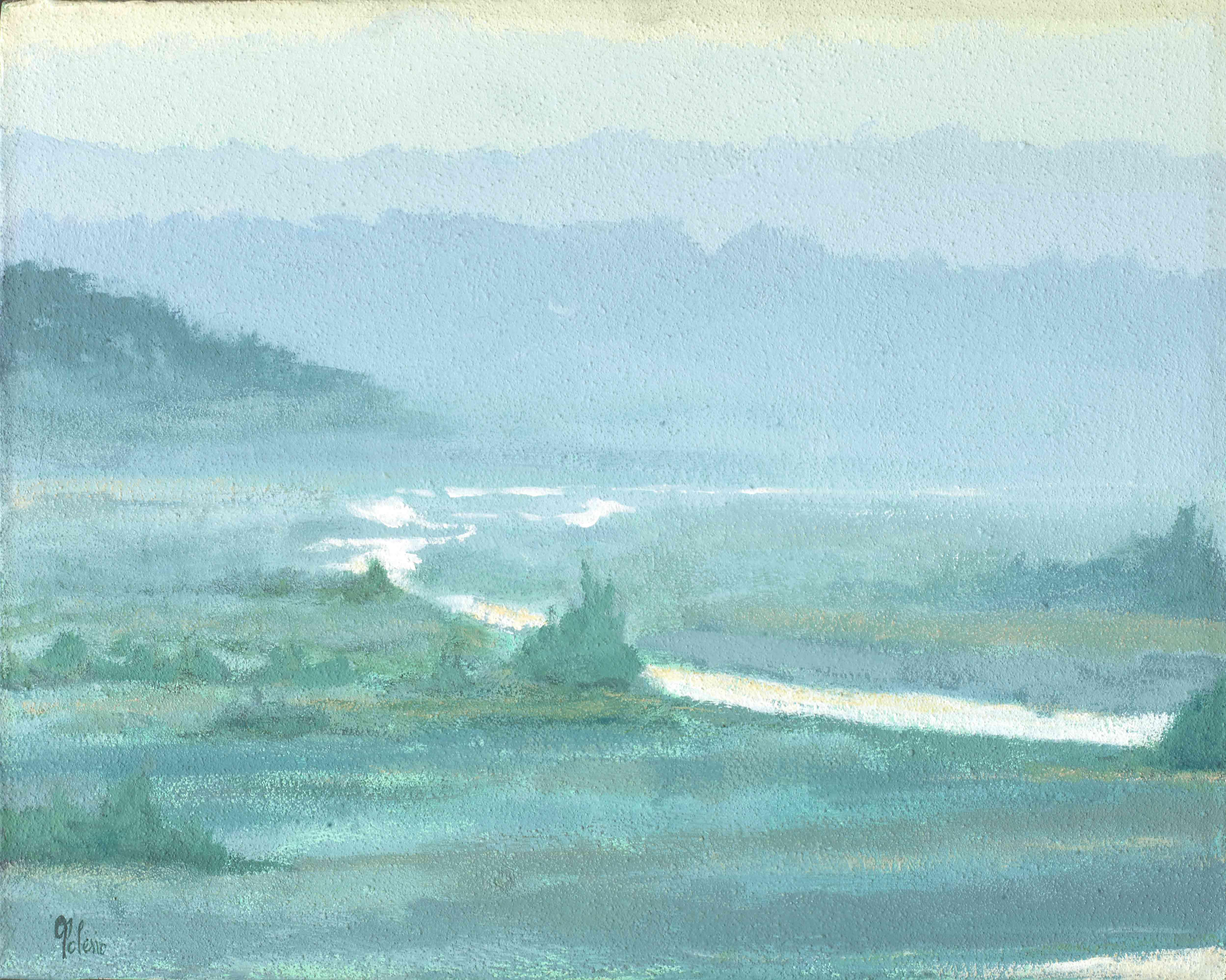 quadro paesaggio, opera d'arte del maestro polesso fulvio pittore chiarista milano italia