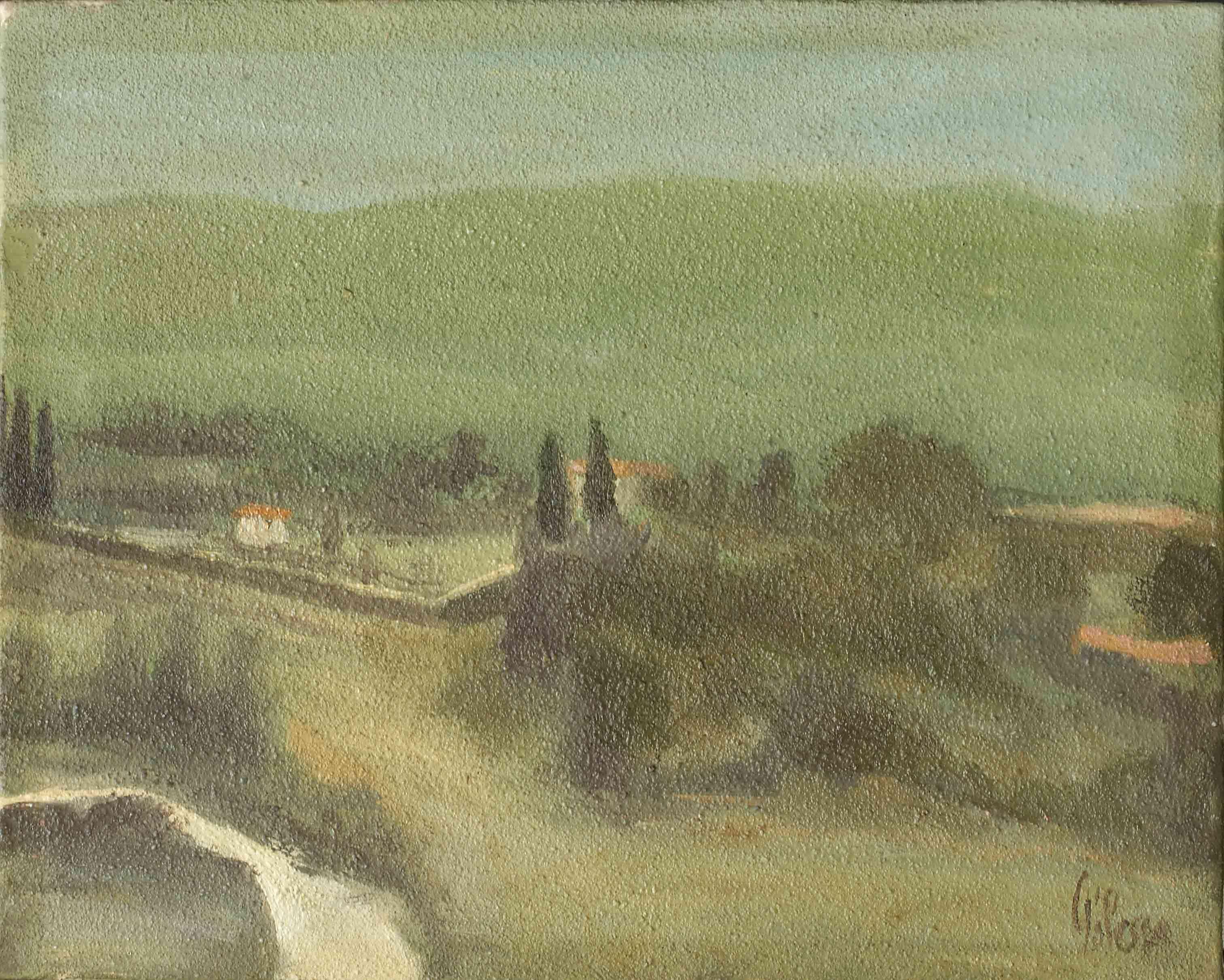 quadro paesaggio umbria italia, opera d'arte del maestro polesso fulvio pittore chiarista milano italia