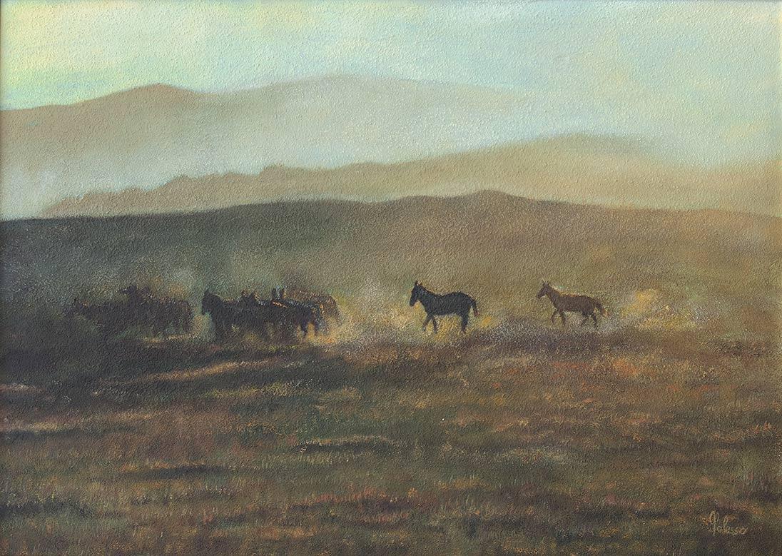 quadro cavalli, olio su tela, maestro polesso fulvio