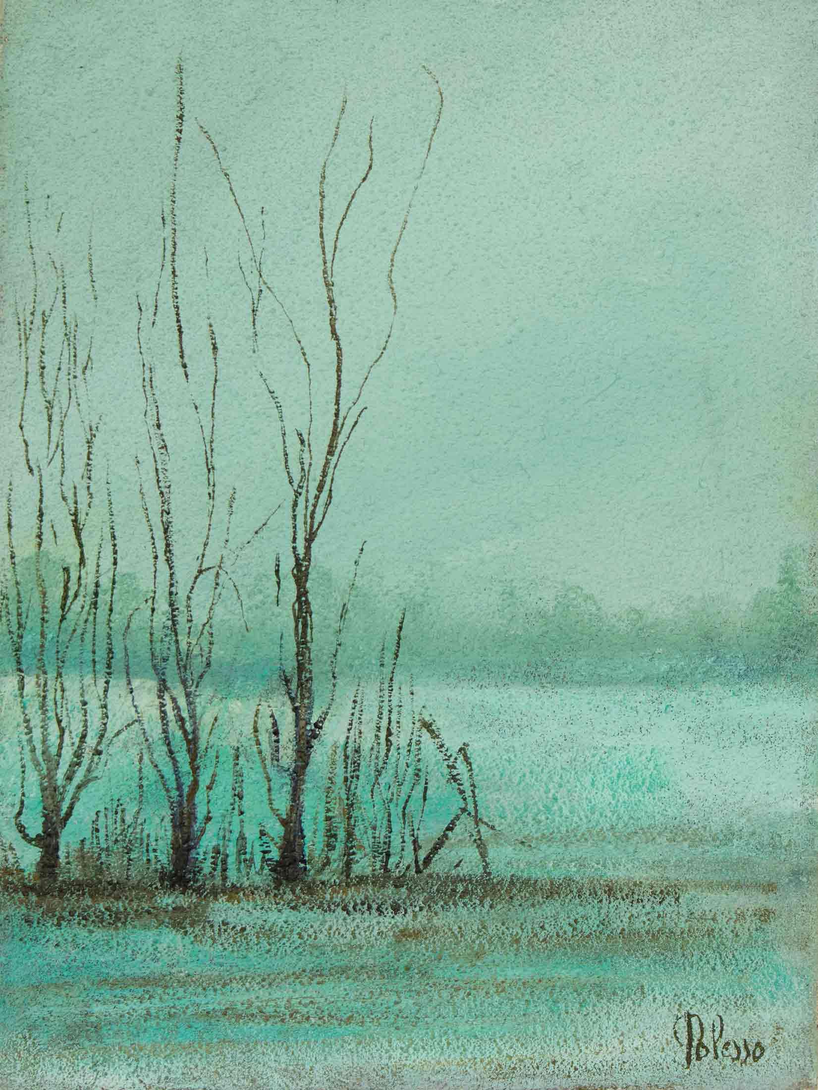 quadro paesaggio campagna lombarda, olio su tela, pittore chiarista polesso fulvio milano
