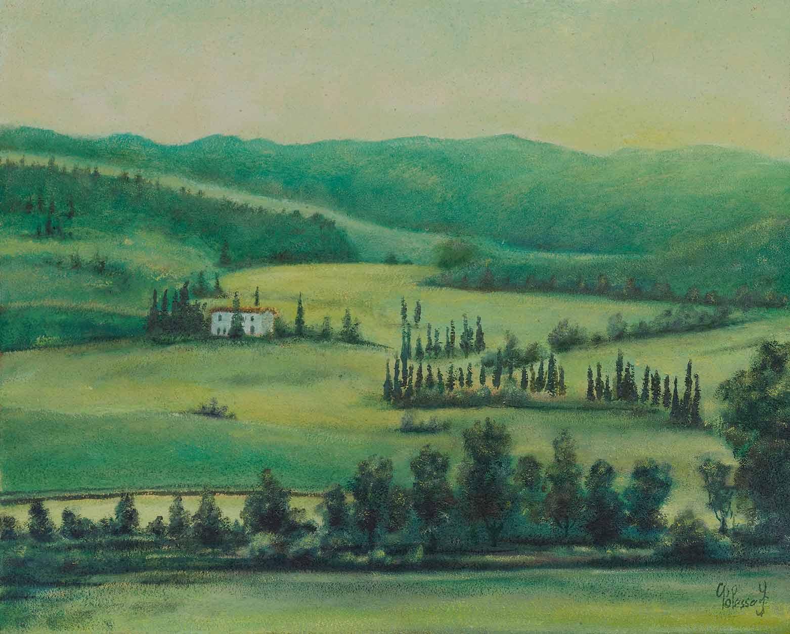 quadro paesaggio toscana, olio su tela, maestro polesso fulvio pittore chiarista milano italia