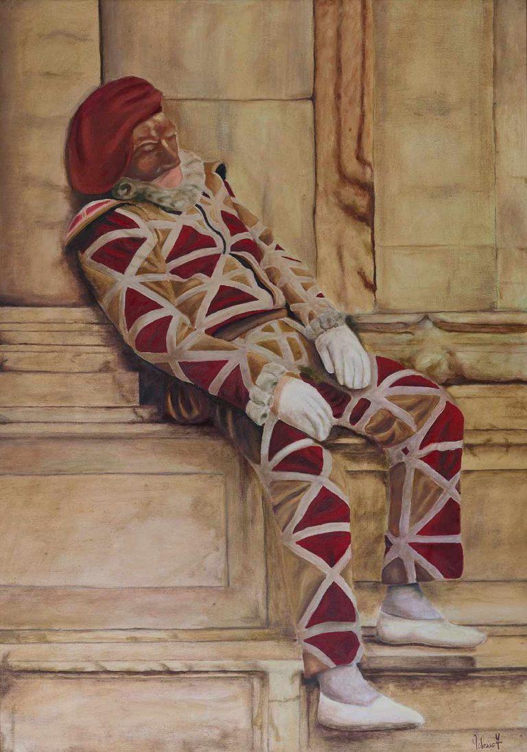 quadro olio su tela, arlecchino, carnevale a venezia, maestro pittore chiarista fulvio polesso
