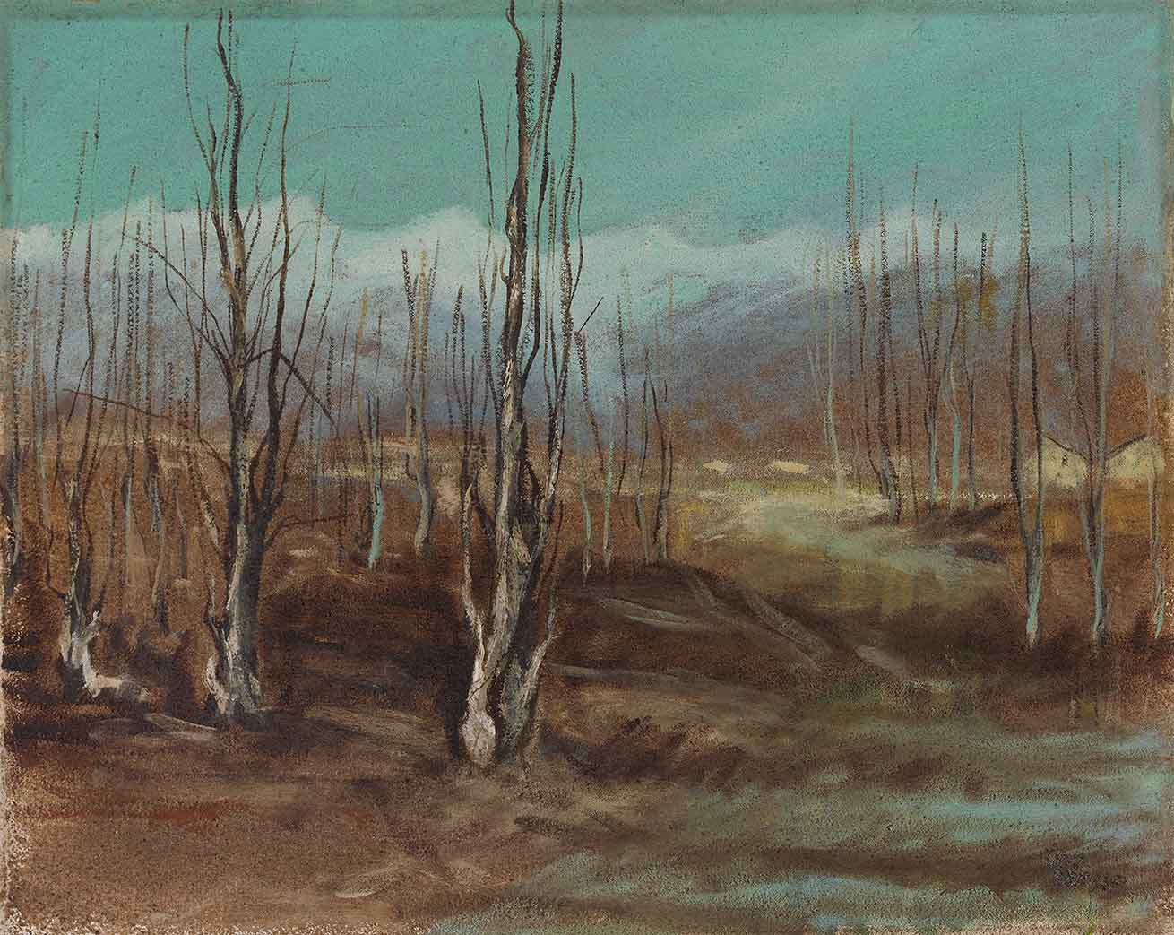 quadro paesaggio gressoney, olio su tela, pittore polesso fulvio