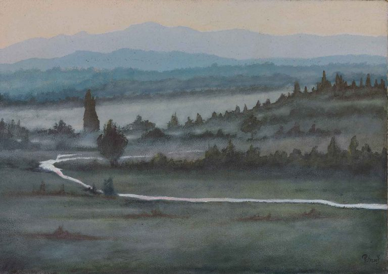 quadro paesaggio toscana, maestro polesso fulvio pittore chiarista milano italia