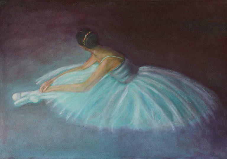 quadro ballerina, olio su tela, pittore polesso fulvio