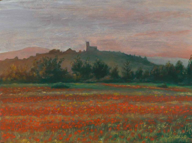 quadro paesaggio toscana, opera d'arte del maestro polesso fulvio pittore chiarista milano italia