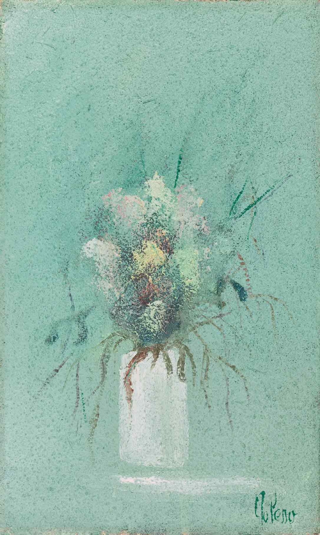quadro vaso di fiori, pittore chiarista polesso fulvio, milano
