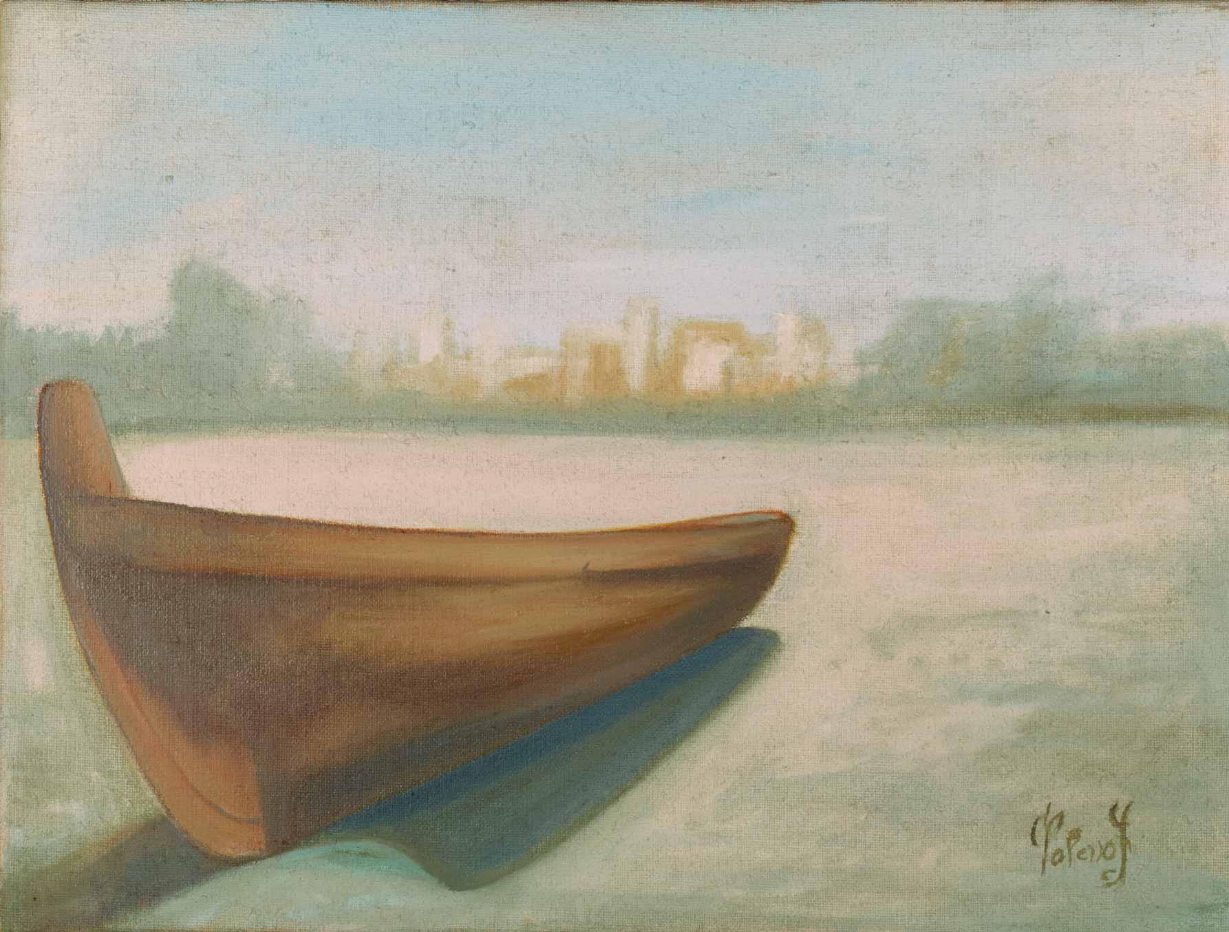 quadro barca, olio su tela, pittore chiarista polesso fulvio milano
