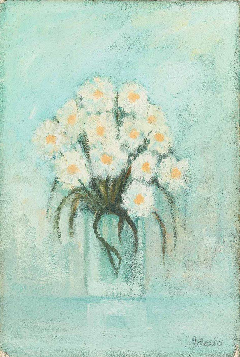 quadro fiori polesso fulvio, pittore chiarista milano , italia