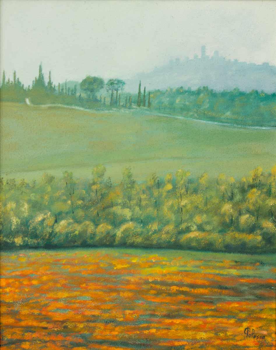 quadro san gimignano polesso fulvio, pittore chiarista milano , italia