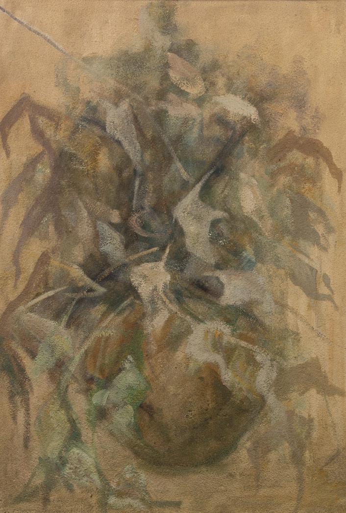 vaso di fiori, olio su tela, quadro del pittore polesso fulvio, pittore chiarista