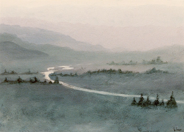 alba, olio su tela, autore Polesso Fulvio
